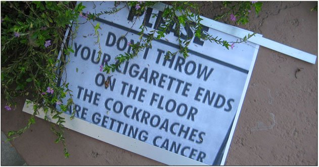 Don't throw your cigarettes on the floor, the cockroaches are getting cancer.